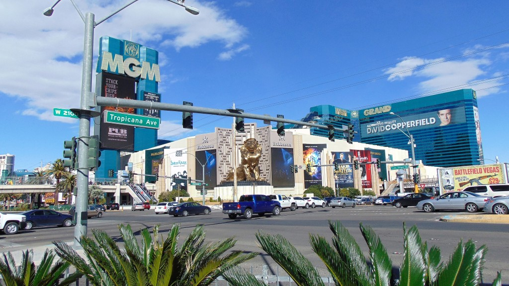22. A typical Las Vegas intersection. In the background is a MGM hotel with picture of David Copperfield the illusionist