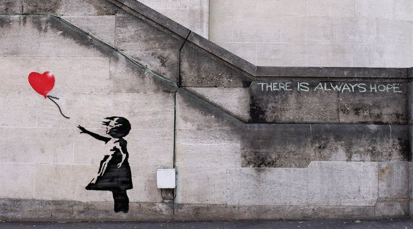 1. 'Girl and balloon', London, 2002, probably one of the most famous Banky's artwork not only because of the red balloon floating in the wind, but because of a small quote on the wall