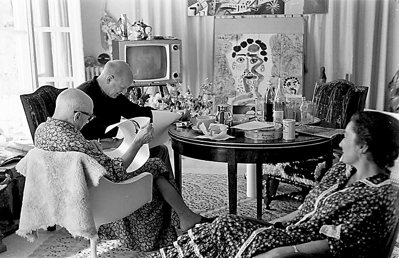 Pablo Picasso and William Hartmann, observed by Jacqueline. Notre-Dame-de-Vie, Mougins, France