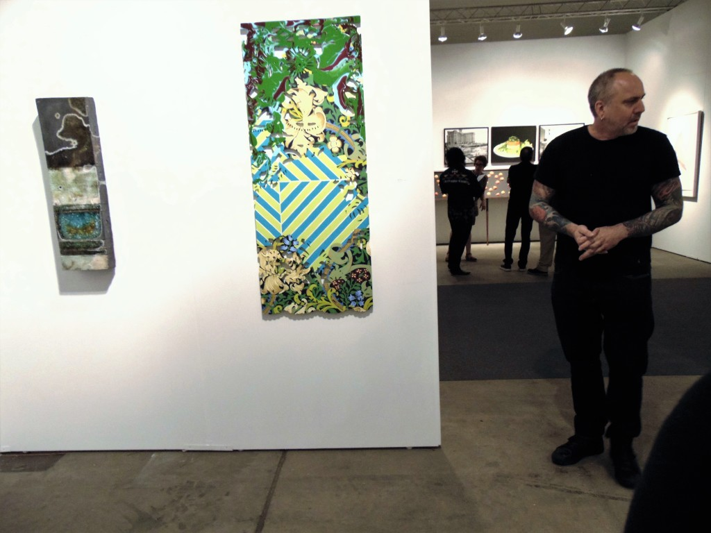 11. Chicago artist Jay Strommen beside his tablet (far left) at Zola Lieberman Gallery booth